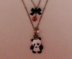 betsey johnson necklace Panda Bear Princess Bow Rhinestone Heart Pearl Charm