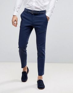 Mens Outfit with Navy Blue Pants . Mens Outfit with Navy Blue Pants . asos Wedding Skinny Suit Pant In Navy Navy Blue Trousers Outfit, Men Trousers, Grey Dress Pants, Men Dress, Formal Trousers For Men, Formal Pants, Men Pants, Formal Men Outfit, Formal Dresses For Men