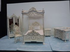 "Dollhouse Bespaq ""Versailles"" Canopy Bed Room Set 6 PC | eBay"