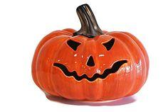 Mexican Ceramic Pumpkin Candle Holder decorative pottery tabletop lantern candle holder Natural Orange Pumpkin wface *** Visit the image link more details.