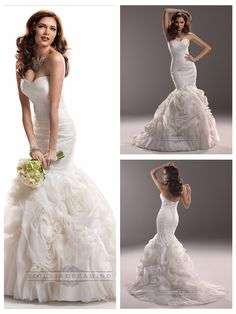Fit and Flare Ruched Sweetheart Wedding Dresses with Rosette Skirt #wedding…