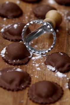 Chocolate Ravioli. These are filled with mascarpone and vanilla.