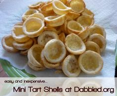 How to make Mini Tart Shells.    These can be used for small appetizers (anything you'd do with phyllo shells, for example) or mini desserts.