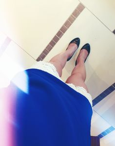 Crochet shorts & cobalt blue