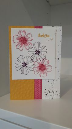 Thank You card, Stampin Up Flower Shop & Gorgeous Grunge stamp sets, Decorative Dots embossing folder, pearl embellishments