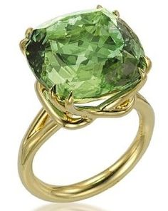 """Exclusive """"Mint"""" Green Tourmaline set in a double """"claw"""" prong ring, by Tamir."""