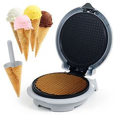 Produce waffle cones and other delectable desserts like lace cookies in minutes by using this Waffle Cone Maker from Chef Buddy. Waffle Cone Maker, Waffle Cones, Waffle Cone Recipe, Ice Cream Roll, Lace Cookies, Ice Cream Treats, Ice Cream Parlor, Specialty Appliances, Small Appliances