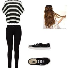 Black and White by amanivelada on Polyvore featuring M&Co, Barbara I Gongini and Vans