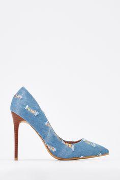 a5de59b4a9690 Distressed Denim Court Heels for £5   Everything5pounds.com