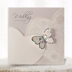 White 3D Pocket Butterfly Wedding Invitations - Cho 1833