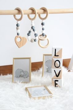 Baby gym toys / Set of 3 toys / Natural and stylish / Food