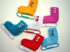 Handmade Felt Ice Skates Appliques Christmas Ornaments Winter Holiday Crafts (6 pcs). $6.00, via Etsy.