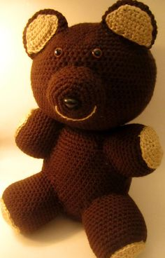 Handmade Teddy Bear Amigurumi Stuffed Animal by LowcountryCrochet, $35.00