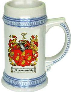 Arrowsmith Coat of Arms / Family Crest stein mug $21.99