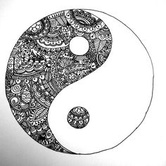 My yin yang zentangle ~ the good in the bad, the bad in the good - doodle