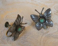 BEAUTIFUL Old MEXICO Sterling Silver & TURQUOISE Butterfly EARRINGS Screw-Back | eBay