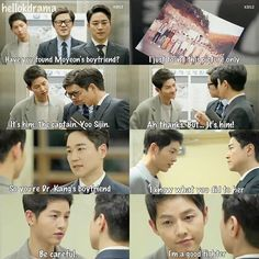 Suddenly missing the cuteness of this drama - Descendants of The Sun - Episode 13 ☀ Korean Drama Funny, Korean Drama Quotes, Desendents Of The Sun, Song Joon Ki, Moorim School, Songsong Couple, Drama Fever, W Two Worlds, Kdrama Memes