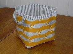 Fish Print Mustard Yellow Oilcloth Storage Basket Bin Small