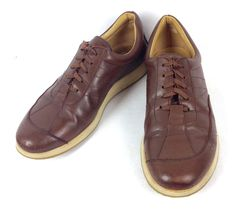 Ermenegildo Zegna Shoes Brown Leather Athletic Oxfords Italy Mens 10 #ErmenegildoZegna #Oxfords