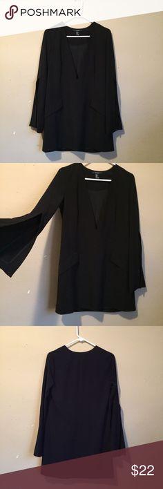 Deep V Chiffon Dress Brand New w/o Tags. Features a flowy loose arm and deep v neckline. ASOS Dresses Long Sleeve