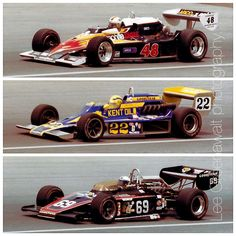 Top : Bobby Unser - Eagle 78 [7801] Cosworth DFX V8 - All American Racer - Center : Tom Bagley - Watson 77 Offenhauser 159 ci turbo - Leader Card - Bottom : Joe Saldana - Eagle 72 [7221] Offenhauser 159 ci turbo - Hoffman Racing - Schaefer 500 - 1978 USAC National Championship Citicorp Cup, round 8 (Lee Greenawalt)