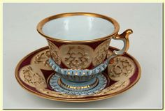 Porcelain cup and saucer set by Meissen, Germany mid. 19th Cent.