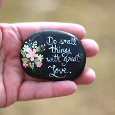 Small inspirational painted stone. Hand painted with LOVE on a super smooth lake Michigan beach stone. I love this quote! Even the smallest act of kindness, if done with great love, can bring joy and happiness to another persons day! Spread kindness! Our world can use a little more of that these days. Brightly painted with the best quality acrylic paints and coated with several layers of high gloss varnish (photos taken before gloss finish to avoid camera glare), signed and dated by the…