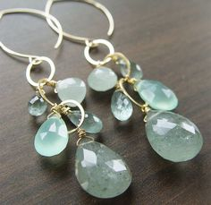 Moss Aquamarine Chain Earrings Gold by friedasophie on Etsy