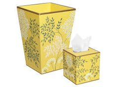 yellow floral wastebasket and tissue box set