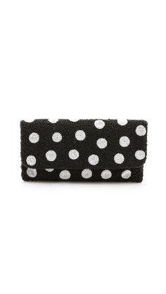 Moyna Polka Dot Clutch #womens #polka #dot #clutch #black/white-dots #love #wantering