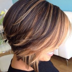 short brunette bob with light caramel balayage (I want to have my hair done up like this. -B.S.)