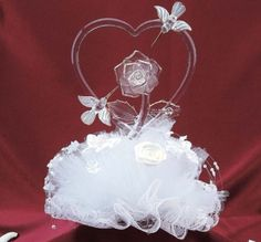 9 Inch Hummingbirds and Rose Glass and Lace Cake Topper, Clear
