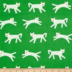 Cotton + Steel Noel Snow Leopard Green from @fabricdotcom  Designed by Rashida Coleman-Hale for Cotton + Steel, this unbleached cotton print features adorable snow leopards with polka dot spots. Perfect for quilting, apparel and home decor accents. Colors include cream, pink, black, green and turquoise.