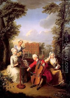 Prince Frederick Louis, Prince of Wales playing the Cello, accompanied by his Sisters, Anne - Caroline - and Amelia - making Music at Kew A4 Poster, Poster Prints, Art Prints, Renaissance, Royal Collection Trust, Oil Painting Reproductions, Art Uk, Instruments, Cello