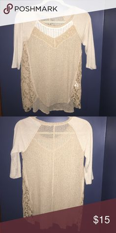 Free People thin sweater shirt with lace Cream colored sweater with lace in sides and around neckline. Flowy and thin. Amazing condition only worn once! Size small. Free People Sweaters Crew & Scoop Necks