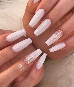 32 Lovely Jelly Nails Ideas That You Should Try! Coffin Nails Ombre, White Acrylic Nails, Best Acrylic Nails, Summer Acrylic Nails, Black Nails, Acrylic Nails Coffin Kylie Jenner, Coffin Acrylic Nails Long, Acrylic Nail Designs Coffin, White Coffin Nails