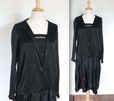 Vintage 1920's Dress // 20s Black Silk Flapper by TrueValueVintage, $400.00