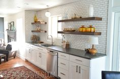 Breathtaking Kitchen Renovation Reveal - Vintage Revivals - Mandi's in-laws' kitchen. LOVE the open shelving, wall of tile, and airy feel!