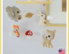 Baby Mobile Nursery Decor Woodland Mobile Animals by hingmade