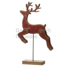 Wooden Jumping Red Reindeer - Small @ gainsboroughgiftware.com Reindeer, Woodland, Table Lamp, Red, Christmas, Home Decor, Xmas, Table Lamps, Decoration Home