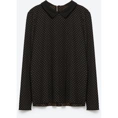 Zara T-Shirt With Peter Pan Collar ($23) ❤ liked on Polyvore featuring tops, t-shirts, peter pan top, peter pan t shirt, zara t shirts, peter pan tee and peter pan collar top
