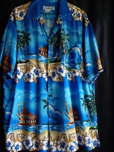 Vintage shirt men's Hawaiian blue  pirate by vintagewayoflife