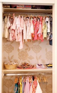 I love this idea!!!    Wallpaper in back of closets. it's those little details that make all the difference