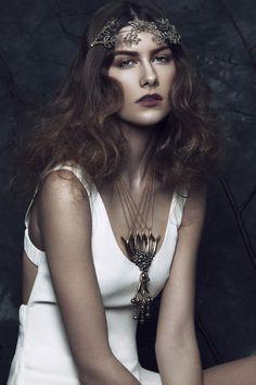 LaKrause Beaded Myrtle Headpiece.  Elléments Magazine | June Issue Copyright: Hollywood Snob Photography 2014