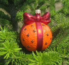 Glaskugle til juletræet Appelsin m/Bånd & Nelliker