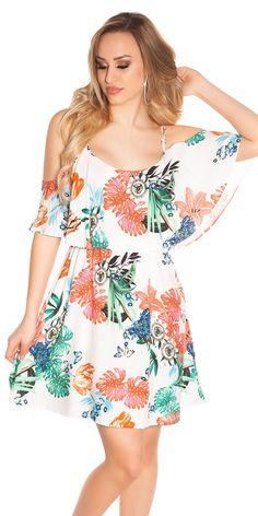 Dámské letní šaty s tenkými ramínky a barevným potiskem. Barva  slonová  kost + multicolor 446f2f12d3