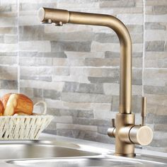 Stev Antique Brass Kitchen Mixer with Water Filtering - Kitchen Taps - Taps