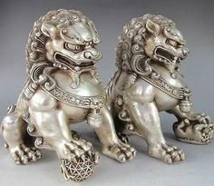 Chinese Copper plating silver Guardian Lion Foo Fu Dog Statue Pair