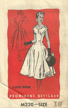 Vintage 50s Mail Order Sewing Pattern Prominent Designer M220 Dress Size 18 by Gothe. $16.50, via Etsy.