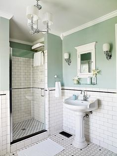 Hard to believe, but this elegant bath is a 1950's remodel crafted from basics sourced from a local home center.